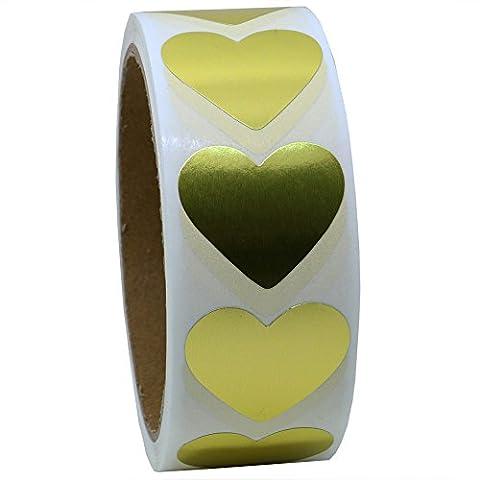 hybsk Étiquettes d'or Cœur 30mm Papier naturel autocollants étiquette adhésive 500par rouleau 1 Roll doré