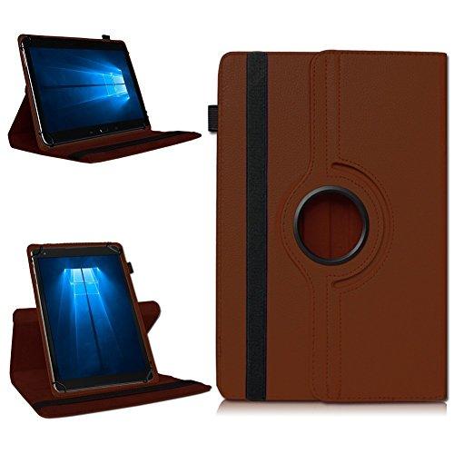 NAmobile Tablet 360° Drehbar Hülle für Odys Wintab Ares 9 Tasche Schutzhülle Case Cover, Farben:Braun