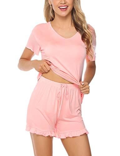 Aibrou Schlafanzug Damen Kurz Baumwolle Pyjama Kurzarm Nachtwäsche Set Shirt & Shorts Sleepwear mit Ruffle Sleeve Sommer Pink M -
