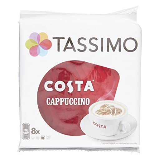 TASSIMO Costa Cappuccino coffee 16 discs, 8 servings (Pack of 5, Total 80 discs/pods, 40 servings)