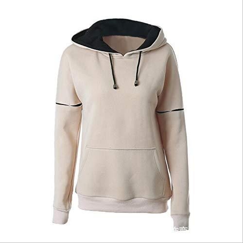 SANNYSIS Hoodie Sweatshirt Damen Frauen Kapuzenpullover mit Hohem Kragen Feste Pullover Tops Slim Fit PulloverKleid Ladies Raglan High Neck Hoody (XXL, Khaki) - Crossover Neck Sweater
