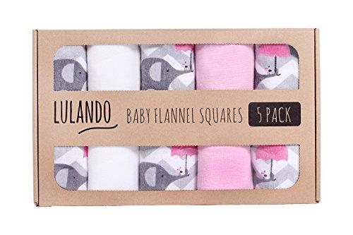 Preisvergleich Produktbild LULANDO Stoffwindeln und Moltontücher 70x80cm (5er Set). Waschbare Windeln und Spucktücher für Ihr Baby, Farbe: Elefanten pink