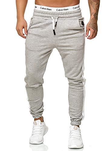 OneRedox Herren Jogging Hose Jogger Streetwear Sporthose Modell 1211 (L (Fällt eine Nummer Kleiner aus), Grau)