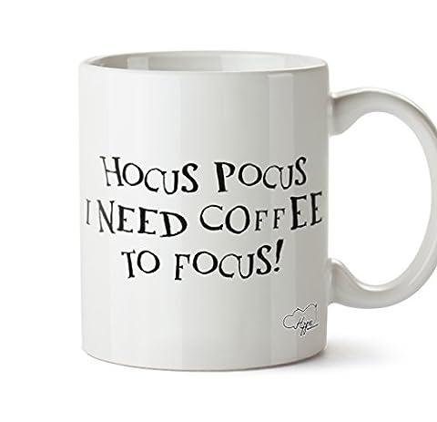 Hippowarehouse Hocus Pocus I Need Café mise au point Imprimé Mug Tasse en céramique 283,5gram, Céramique, Black Text, One Size (10oz)