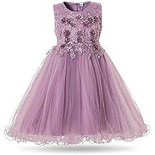 363553e86 CIELARKO Vestidos de Fiesta para Niña con Flores Bordado Ropa