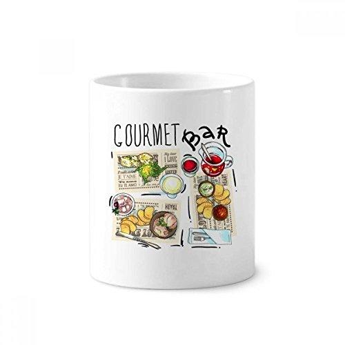 DIYthinker Gourmet Bar Steak Suppe Limonade Keramik Zahnbürste Stifthalter Tasse Weiß Cup 350ml Geschenk 9.6cm x 8.2cm hoch Durchmesser