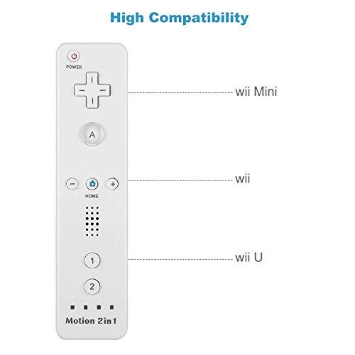 Wii Controller, PowerLead Wii Remote und Nunchuk Motion 2 in 1, Eingebauter Motion Plus Remote und Nunchuck Controller mit Silicon Case für Nintendo Wii und Wii U (Weiß)