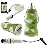 Emartbuy Trio Pack für Xoro Telepad 732 7-Zoll- Tablet - Grün Camouflage Gewehrkugel 1 Ampere USB Car Charger + Weiß Mini Stylus Metallic + weiß Wohnung Anti-Tangle Micro USB Sync / Transfer Data & Charge Kabel