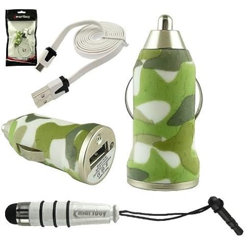 Emartbuy Trio Paquete para LG U - Verde Camuflaje 1 Amp USB Cargador de Coche + Blanco Mini Lápiz Óptico + Blanco Plano Micro USB datos & Cable Cargador