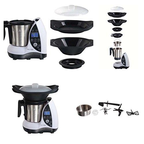 All-in-One-Küchenmaschine mit Kochfunktion starke 1500 Watt (Multikocher, Küchengerät, 12 Funktionen, Dampfgarer, Edelstahl-Schüssel, weiß)