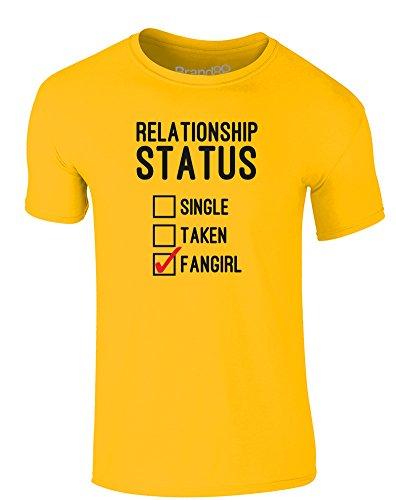 Brand88 - Relationship Status: Fangirl, Erwachsene Gedrucktes T-Shirt Gänseblümchen-Gelb/Schwarz