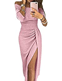 Happy Sailed Womens Long Sleeve Ruched Thigh Slit Off Shoulder Dress