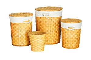 Premier Housewares Round Honey Woven Wood Baskets with Cot/Liner - Set of 4