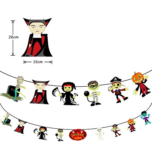 FairOnly Halloween Papiergirlande Dekoration Cartoon Kürbis Vampir Katze Puppe Banner Wimpelkette Party Dekoration Requisiten Vampire (Halloween Vampir Cartoon)
