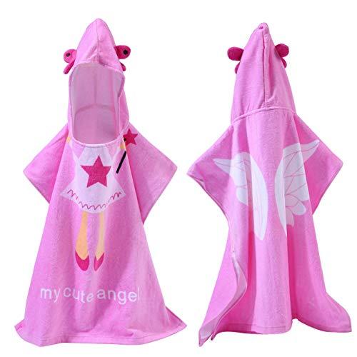 Pawaca - Albornoz con Capucha de ángel para baño, Playa, Piscina, Suave, Absorbente, Secado rápido, 2 - 10 años para niñas