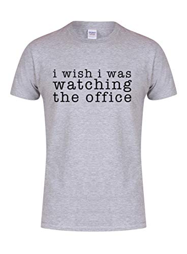 Kelham Print Unisex Youth Slogan T-ShirtI Wish I was Watching The Office Grey Small with Black