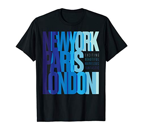 New York Paris London T-shirt, Summer Holiday Travel Lovers T-Shirt -