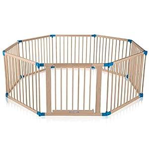 Baby Vivo XXL Laufgitter Laufstall Baby Absperrgitter Krabbelgitter Schutzgitter für Kinder aus Holz mit Tür…