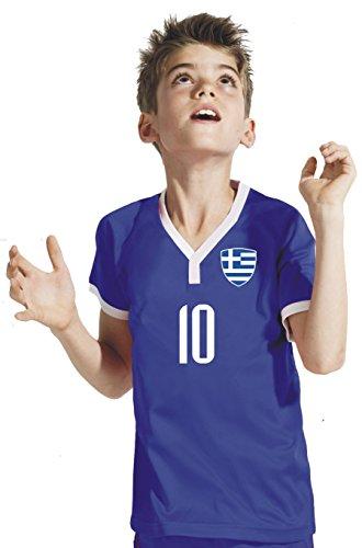 Griechenland Kinder Trikot - Hose Stutzen inkl. Druck Wunschname + Nr. BBB WM 2018 (152)