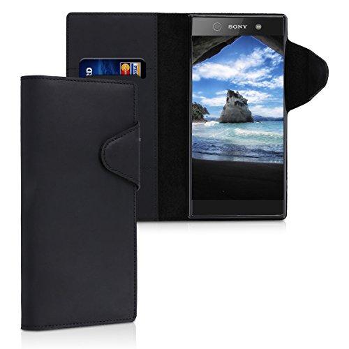 kalibri-Hlle-fr-Sony-Xperia-XA1-Ultra-Echtleder-Wallet-Case-Schutzhlle-mit-Fach-und-Stnder-in-Schwarz