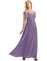 iEFiEL Womens Chiffon Off The Shoulder V Neck Bridesmaid Dress Evening Prom Ball Gown