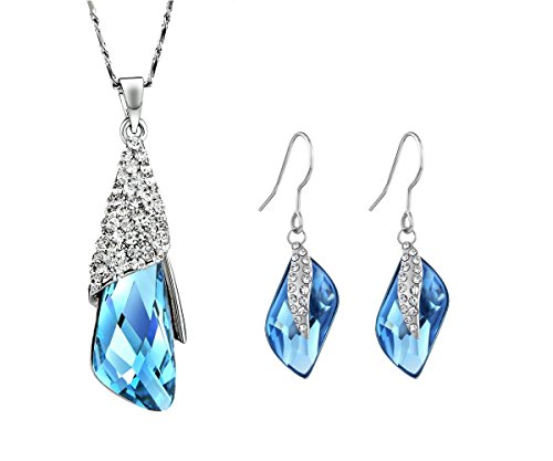 Memory JewelleryR Swarovski Element Blue Crystal NECKLACE EARRING JEWELLERY SET BIRTHDAY GIFT For Women