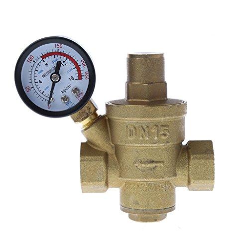 """Preisvergleich Produktbild Manyo Einstellbare Messing-Wasserdruckminderer mit Manometer, DN15/DN20/DN25, 1/2"""", PN 1,6, 1 Stück. (DN15)"""