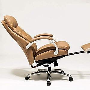 Computer Bürostuhl PU Leder Ergonomischer Schwenk Computer Schreibtisch Stuhl Einstellbar Neigung & Amp; Sperrfunktion High Back Recliner, braun (Farbe : Braun)