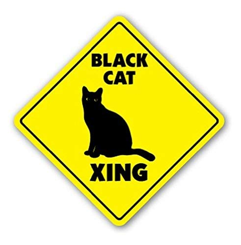 DOGT New Metal Sign Black CAT Crossing Sign Xing Gift Novelty Kitty Cats Kittens Witch Halloween Aluminum Metal Tin Sign Square Sign Warning Sign 12x12 Inch -