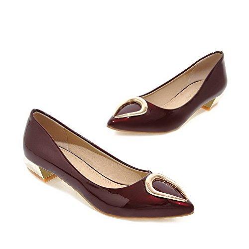 AgooLar Femme Mosaïque Pu Cuir à Talon Bas Pointu Tire Chaussures Légeres Rouge Vineux