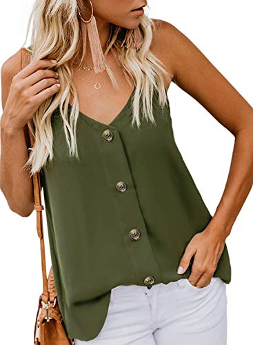 KOKOUK Womens Summer Sleeveless V-Neck Blouse Casual Adjustable Spaghetti Straps Vest Tank Tops S-XXL - Tartan Skull Sweatshirt