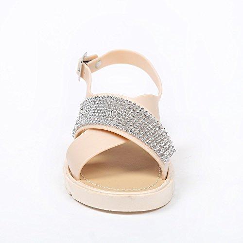 Ideal Shoes Sandales Plates avec Lanières Croisées et strassées Macaire Beige