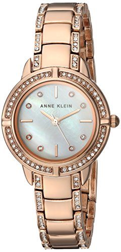 Anne Klein Women's AK/2976MPRG Swarovski Crystal Accented Rose Gold-Tone Bracelet Watch