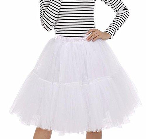 Prinzessin Tüllrock Damen Vintage 50er Jahre Faltenrock Tutu Tanzrock Organza Petticoat Ballettrock Pettiskirt Unterrock Rockabilly Kleid mit 6 Layers Perfekt für Fasching Weiß