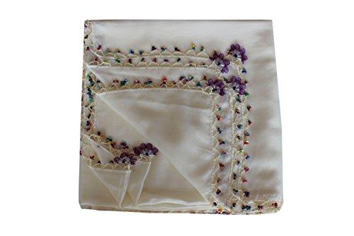 Creme Viola (Quadratische Kopftücher mit Perlen (creme Viola))