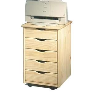 caisson de bureau de rangement sur roulettes vernis naturel cuisine maison. Black Bedroom Furniture Sets. Home Design Ideas