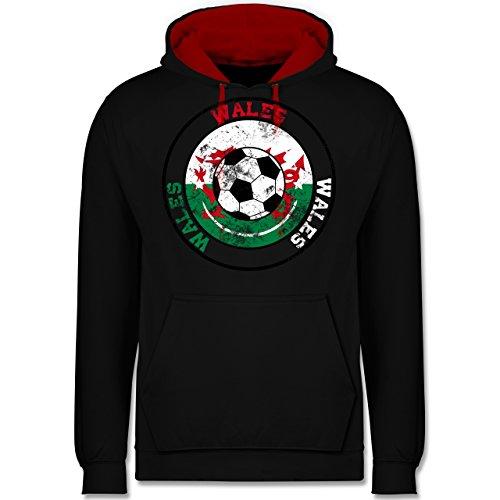 Fußball - Wales Kreis & Fußball Vintage - Kontrast Hoodie Schwarz/Rot