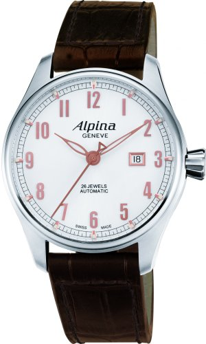 Alpina Startimer Herren-Armbanduhr 44mm Armband Leder Automatik AL-525SCR4S6