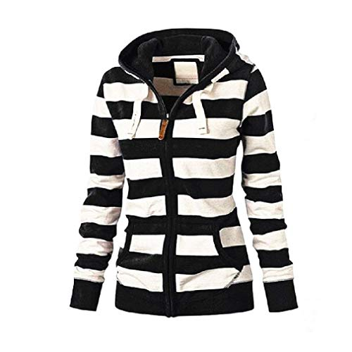 CuteRose Women Long-Sleeve Striped Shirt Hooded Classic Trench Coat Jacket AS5 L