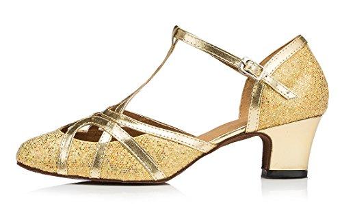 F&M Fashion - Sandali con Zeppa donna 5cm Glitter Gold