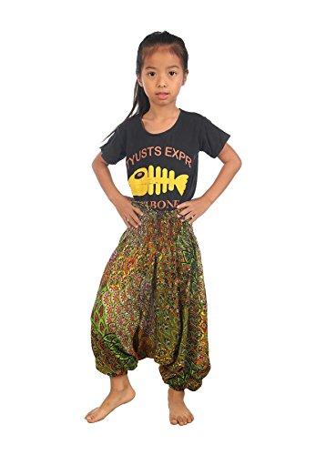 Lofbaz Mädchen Kinderhose Haremshose Jumpsuit Pfaumuster Hellgrün Größe 4T (4t Harem Hose)