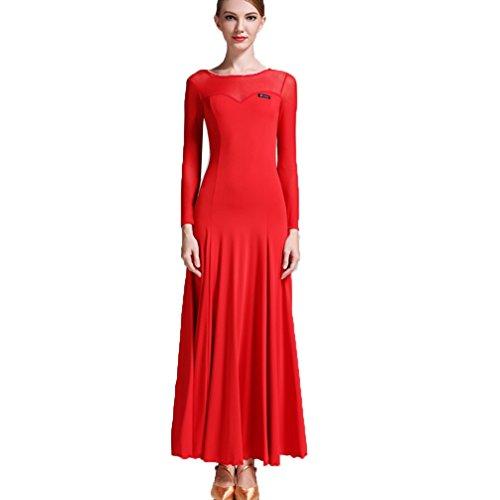 (Walzer Modernes Tanzkleid für Frauen Trainning Kostüm National Standard Ballsaal Tanzkleid Tango Performance-Tanzabnutzung Übungsrock Mesh Stitching, Red, M)