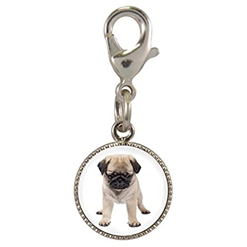 Pug Puppy Dog Image Design Silver Plated Clip on 1cm Charm