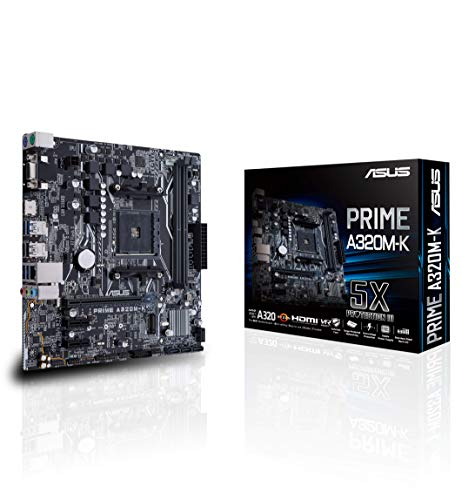 Asus PRIME A320M-K AMD AM4 A320 mATX - Plaque avec éclairage LED, DDR4 3200 MHz, 32Gb / s M.2, HDMI, SATA 6 Gb / s, USB 3.0