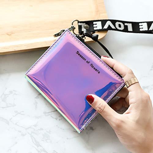 MKJGD Brieftasche Mode Frauen Leder Brieftasche Holographische Brieftasche Frauen Kleine Karte Brieftasche Reißverschluss Geldbörse Kartenhalter Femme-in Brieftaschen 1 Femme Fringe