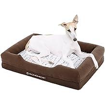 Songmics camas para perros Cómodo mascotas Sofá para Mascotas Lavable a Máquina Reborde Alto Colchón de Esponja Funda A prueba de Frío Base Antideslizante M 73 x 50 cm PGW73Z