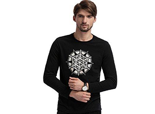 BOMOVO Herren BLAU GRUN T-Shirt Shaped Long Tee mit Rundhals Schwarz