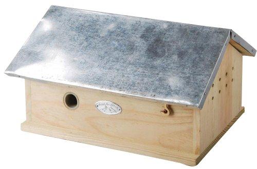 2 Stück Esschert Design Hummelhaus, Hummelnistkasten mit Metalldach, Deckel klappbar, ca. 29 cm x 17 cm x 15 cm