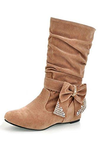 femme bottes - SODIAL(R)femme plier rhinestone arc bottes brun clair 39