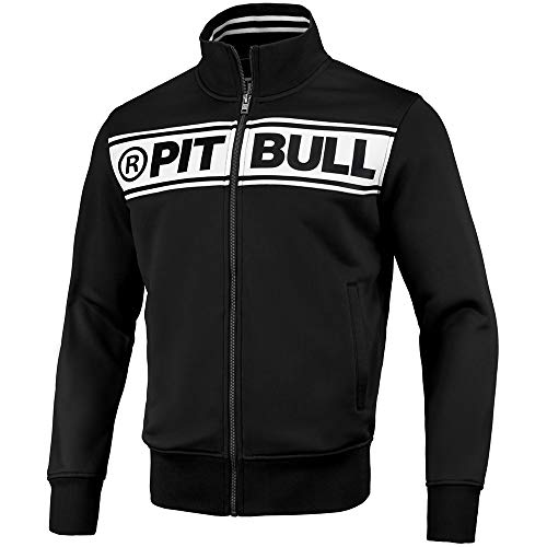 Pit Bull West Coast Trainingsjacke, Old School Chest Logo, schwarz-weiß Größe L
